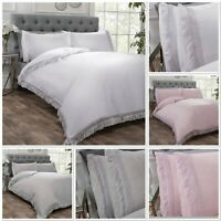Rapport Tia Trellis Fringe Trim Detail Duvet Cover Bed Set White, Pink Or Grey