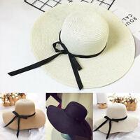 Fashion Floppy Women Sun Hat Large Wide Brim Straw Hat Cap Ladies G9A