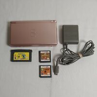 Nintendo DS Lite Console USG-001 Rose Gold W/CHARGER and 3 GAME