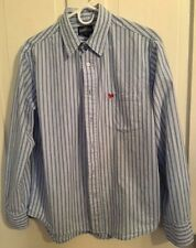 Aeropostale Blue and White Striped Long Sleeve Shirt, Mens Small