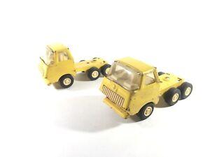 Vintage Tonka Semi Truck Cab Pressed Metal Toy Lot Of 2 Yellow