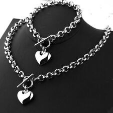Women Girl Silver Rolo Chain Heart Toggle Stainless Steel Necklace Bracelet Set