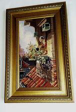 Altes Gemälde Gobelin Stickbild 43x22cm
