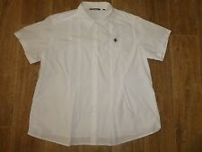 LISA HO SIZE 22 WHITE COLLARED  BUTTON THRU WORK PLEAT BLOUSE TOP SHIRT X3