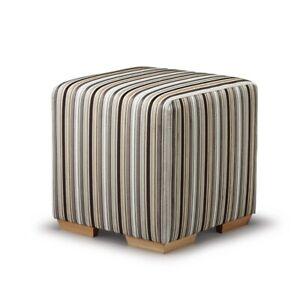Biagi Upholstery & Design Large Cube Stool in Black Grey Taupe Velvet Stripe