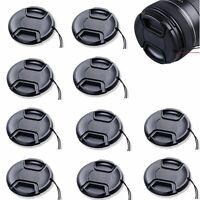 10pcs 62mm Center-Pinch Front Lens Cap + String for Nikon Canon Sony Olympus 10x