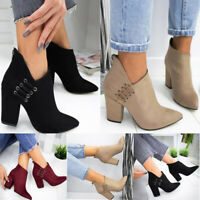 Womens Block Mid Heel Ankle Boots Ladies Casual Zip Up Booties Chunky Shoes Size