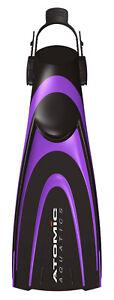 Atomic Aquatics Blade Fins Fin Open Heel for Scuba, Diving, Snorkeling Purple