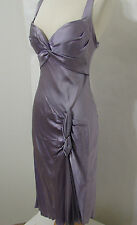 DINA BAR EL 100% Silk Lavender Asymmetrical Hem Bias Cut Back Flapper Gown M