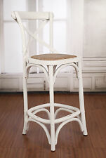 3 x Counter Stool Antique White Cross Back French Provincial Cafe Breakfast NEW