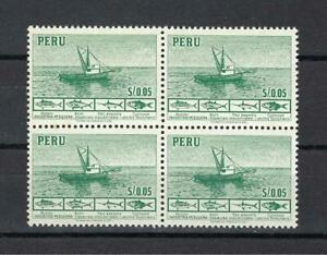 Peru 1952 Sc# 458 Fishing boat Principal fish block 4 MNH