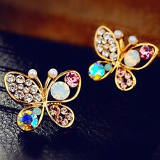 Simulated Stud Colorful Earrings Butterfly Pearl Cystal