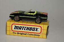 MATCHBOX #MB14 1987 CHEVROLET CORVETTE, BLACK & NEON YELLOW, NEW IN BOX