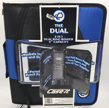 New Case It Dual Ring Zipper Binder Dual 15 Inch D Ring 3 Capacity Blue