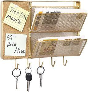 Modern Gold Metal Mesh Entryway Wall Storage Organizer Rack w/ Hook & Cork Board