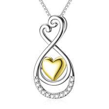 Herz vergoldet Unendlichkeit Tropfen weiße Kristalle Kette Anhänger 925 Silber