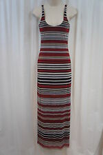 Weston Wear Dress Sz S Red Brown Multi Striped Nylon Full Length Casual Shift