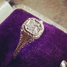 Antique Diamond Ring 18k White Gold Art Deco Filigree Stunning!!
