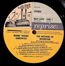 1970 MOTHERS BURNT WEENY U.K. POP SERIES LP W/ IGOR'S BOOKIE MISTAKE FRANK ZAPPA