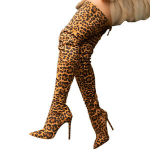 Womens Leopard Print Thigh High Stretch Riding Boots Pointed Toe Heels Stilettos