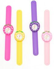 Childrens Kids Girls Pink Purple Yellow Strawberry 3D Snap Band On Wrist Watch
