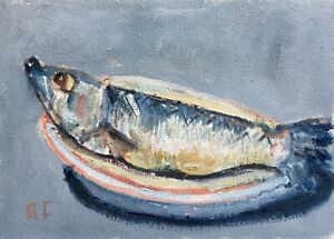 Still Life with Herring original oil painting Impressionism
