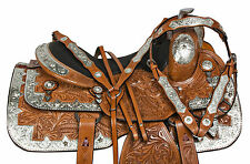USED 16 EQUITATION SILVER PARADE WESTERN PLEASURE SHOW HORSE SADDLE LEATHER TACK