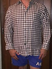 Vintage Tommy Hilfiger Brown And White Checkered Shirt Size Large Men's