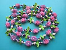 "Vintage 48"" Long CELLULOID FLOWER & LEAF NECKLACE Purple Pink Daisy Fruit Salad"