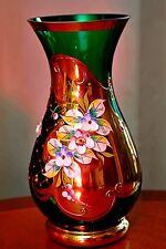 Vintage Tchèque Bohème Vase en verre vert émeraude peint à la main