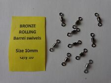 Fishing Bronze Rolling Barrel Swivels size 10mm pack of 10