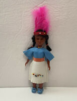 VTG NATIVE AMERICAN INDIAN DOLL Leather Outfit BEADED SLEEPY EYES ORANGE