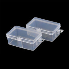 2pcs Rectangle Transparent Clear Plastic Storage Box Small Parts Box LU