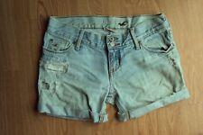 Womens Hollister Cotton Light Wash Distressed CUT OFF Cuffed Denim Jean Shorts 1