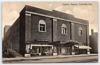 old postcard Capital Theatre Cornwall, Ont. Ontario Canada Medical Hall Co store