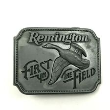 VINTAGE Remington Arms Belt Buckle Canada Goose FIRST IN THE FIELD 1980 USA MADE