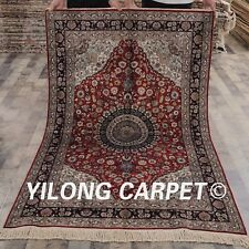YILONG 4'x6' Hand knotted Silk Classic Carpet Family Room Traditional Rug Y91D