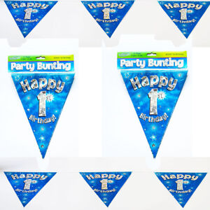 Happy 1st Birthday Bunting Blue Holographic Foil Party 3.9m /11 Flags/OAKTREE