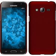 Custodia Rigida Samsung Galaxy J3 - gommata rosso + pellicola protettiva