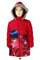 GIRLS MIRACULOUS  LADY BUG WINTER COAT WITH HOOD BLACK SIZE 4, 5, 6, 8 &10 YEARS