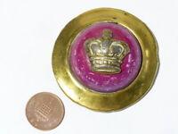 Antique Pink Porcelain & Victorian CROWN Horse Brass Harness Mount Boss #HB15