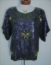 VINTAGE 80s BLACK IRRIDESCENT SEQUIN GOLD BOWTIE BEADED SILK HOLIDAY BLOUSE TOP