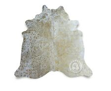 New COWHIDE RUG Devore Metallic Gold on Off White Leather Cow Skin  Cow Hide