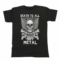 Death To All But METAL Mens ORGANIC T-Shirt Fit Heavy Metal Music Skull Thrash