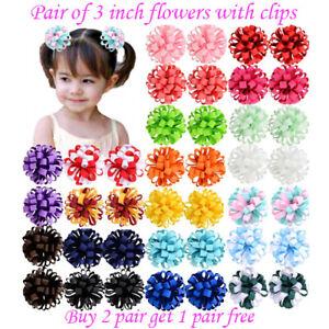 "3"" 3 Inch Clip Girls Corker Korker Bow School Baby lot Hair flower kids Pair"