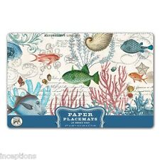 Michel Design Works 17 x 11 Paper Placemats Pad/25 Sea Life Fish Shells - NEW