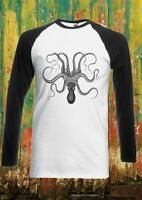 Octopus Drawing Vintage Funny Men Women Long Short Sleeve Baseball T Shirt 1230