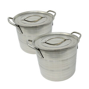 VG® Set of 2 Stainless Steel Camping Picnic Soup Stew Pot Pan Stockpot 18/20cm