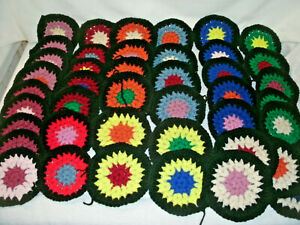 "CROCHETED GRANNY ROUNDS--Lot Of 42-- 5""- Asorted Colors  for Afghan Throw.."