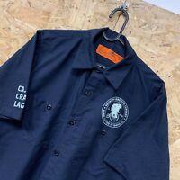 Vintage RED KAP Workwear Work Short Sleeve Shirt Navy Blue USA Size Medium M